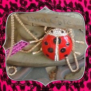 Betsey Johnson Rhinestone Ladybug Necklace W/Chain